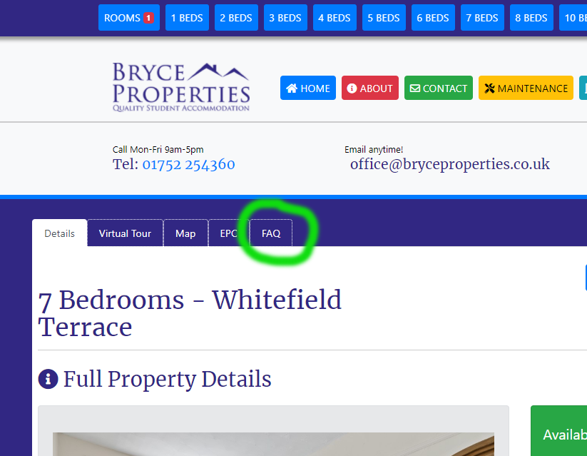 Screenshot of the FAQ tab on each property page